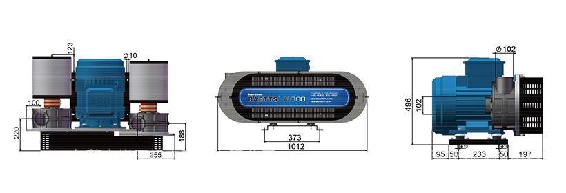 雷茨高速离心风机RAETTS-300卧式安装尺寸图