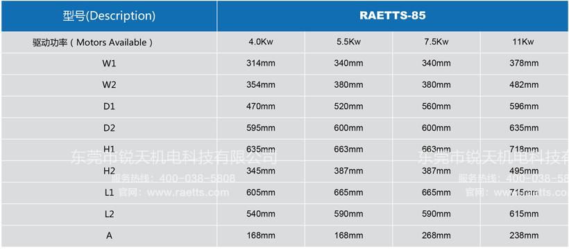 雷茨高速离心风机RAETTS-85安装尺寸