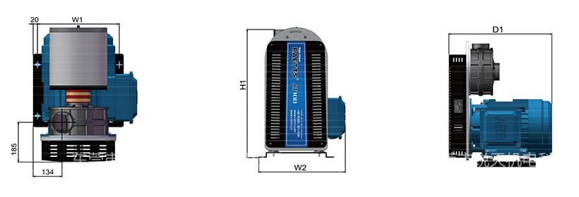 雷茨高速离心风机RAETTS-100立式安装尺寸图
